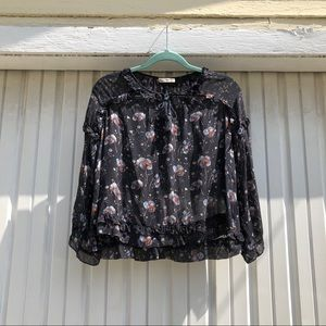 Ulla Johnson black silk floral ruffle blouse